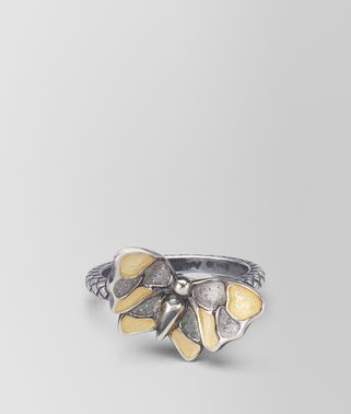 ORO GIALLO ARGENTO ANTIQUE SILVER BUTTERFLY RING