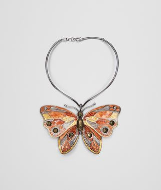MULTICOLOR ANTIQUE SILVER BUTTERFLY NECKLACE