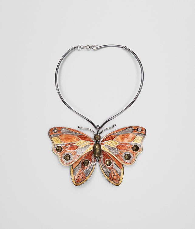 BOTTEGA VENETA MULTICOLOR ANTIQUE SILVER BUTTERFLY NECKLACE Necklace [*** pickupInStoreShipping_info ***] fp