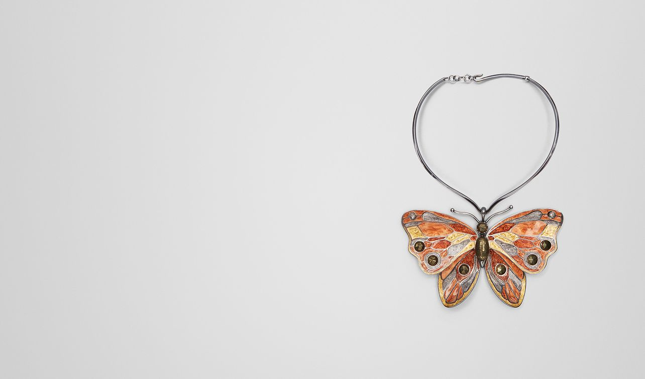 multicolor antique silver butterfly necklace landing