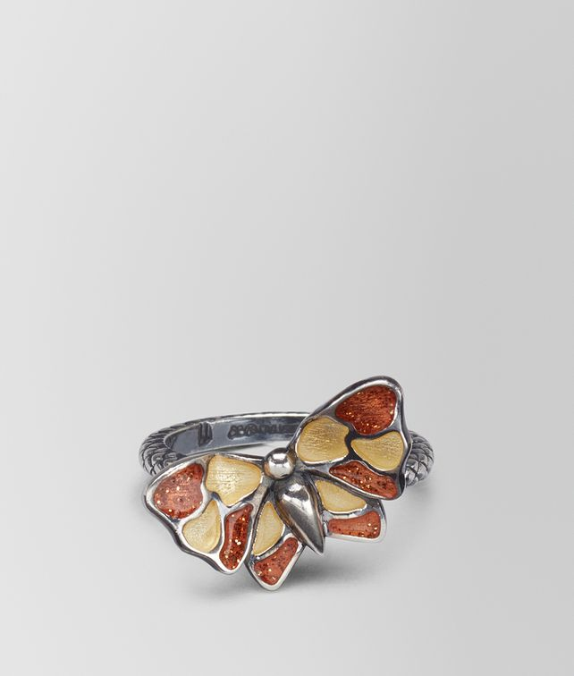 BOTTEGA VENETA MULTICOLOR ANTIQUE SILVER BUTTERFLY RING Ring Woman fp