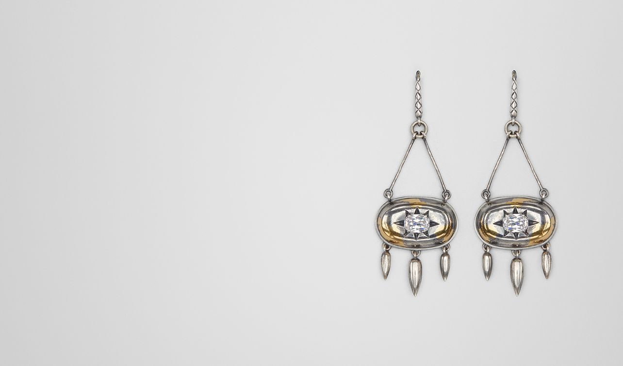 natural antique silver stellular earrings landing