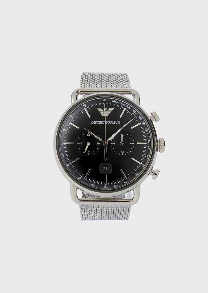 dd286fdfb26d40 Cronografo in acciaio inox 11104 | Uomo | Emporio Armani