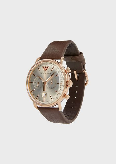 Stopwatch in rose gold stainless steel and leather 11106