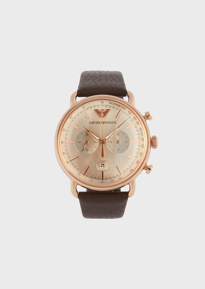 03f161e210 Cronógrafo de acero inoxidable de color oro rosa y piel 11106 | Hombre | Emporio  Armani