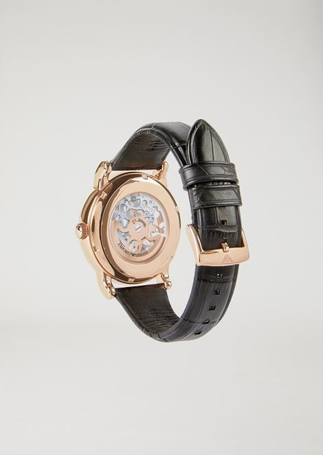Man automatic leather watch