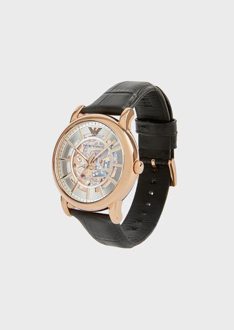 Reloj de acero inoxidable y piel con estampado de cocodrilo 60007