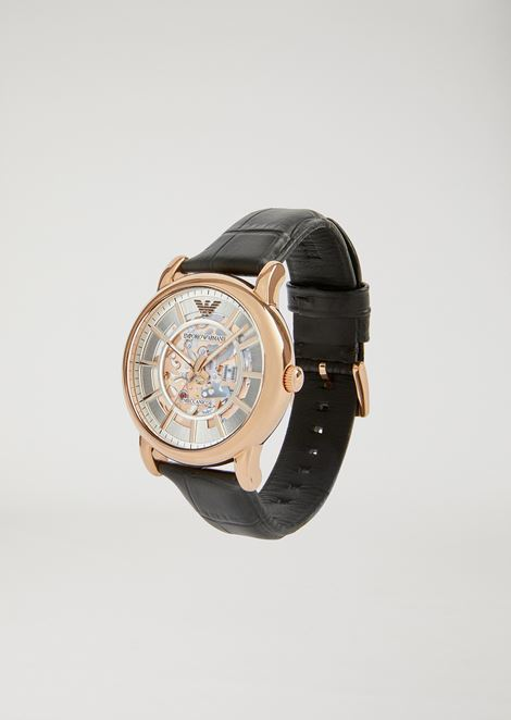 Часы из нержавеющей стали с кожаным ремешком с крокодиловым принтом 60007
