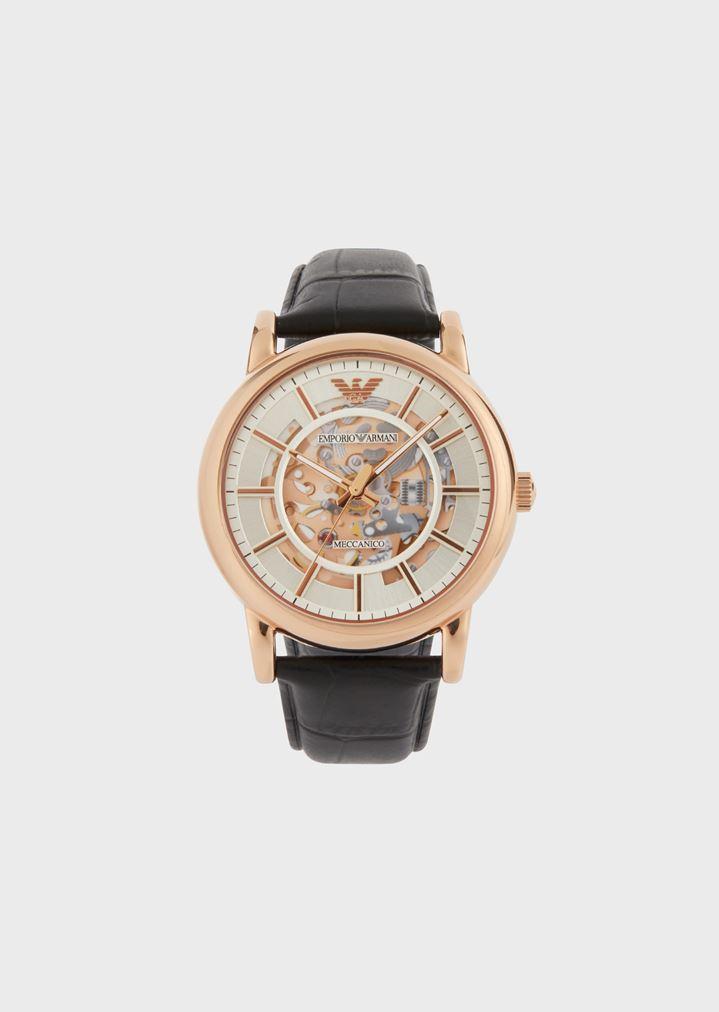 08b21edad Man automatic leather watch   Man   Emporio Armani