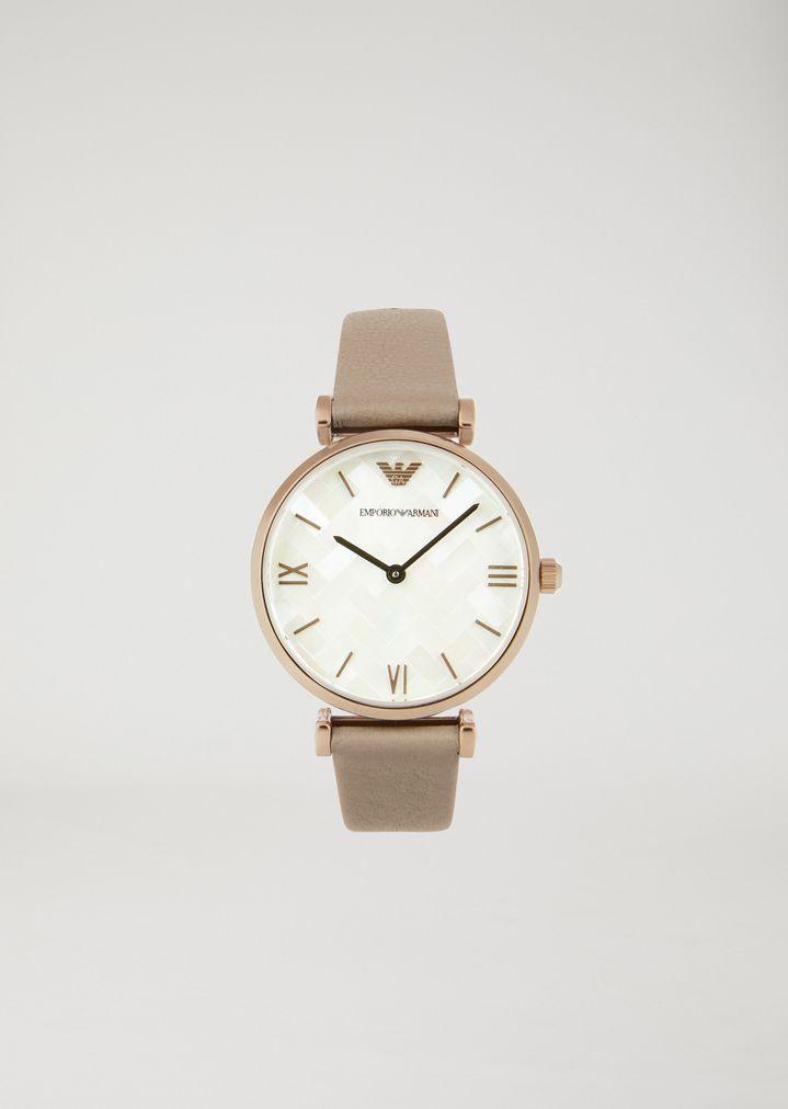 detailed images official images fast delivery Uhr aus Roségold plattiertem Edelstahl und Leder 11111 ...