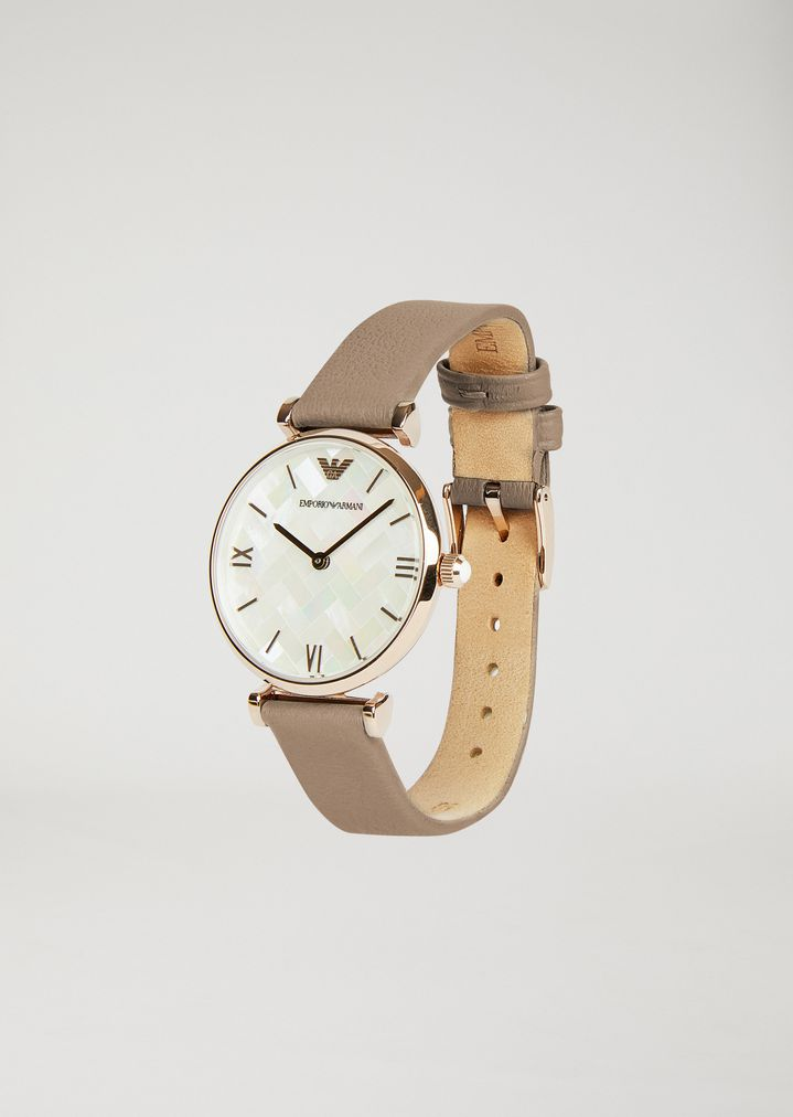 503dde95f4 11111 rose gold-plated stainless steel and leather watch | Woman ...