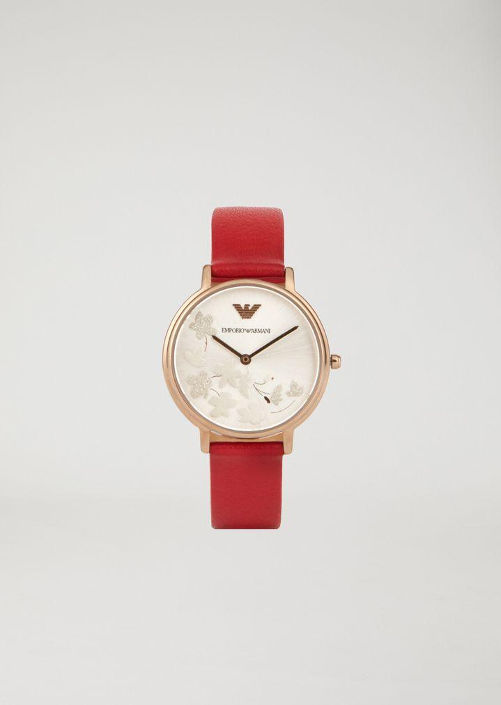 427321ffb667 Reloj de acero inoxidable chapado en oro y piel 11114