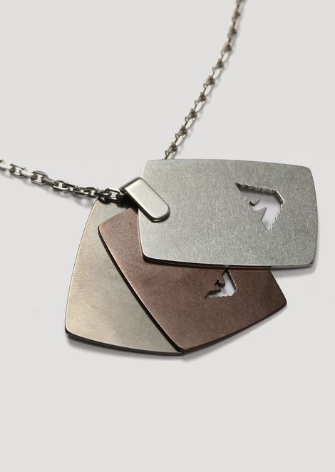 Necklace with branded stainless steel plaque