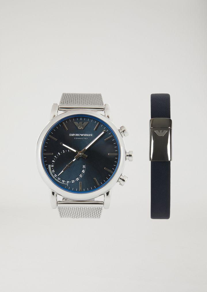 Coffret cadeau montre connectée hybride et bracelet 9003   Homme   Emporio  Armani 429b3143f1c