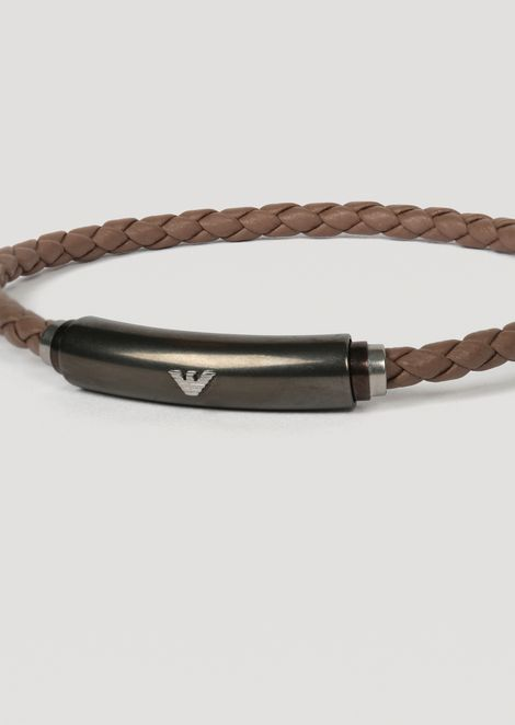 Bracelet in leather and gunmetal