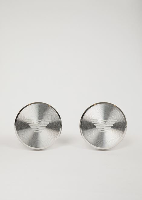 Cufflinks in stainless steel with logo