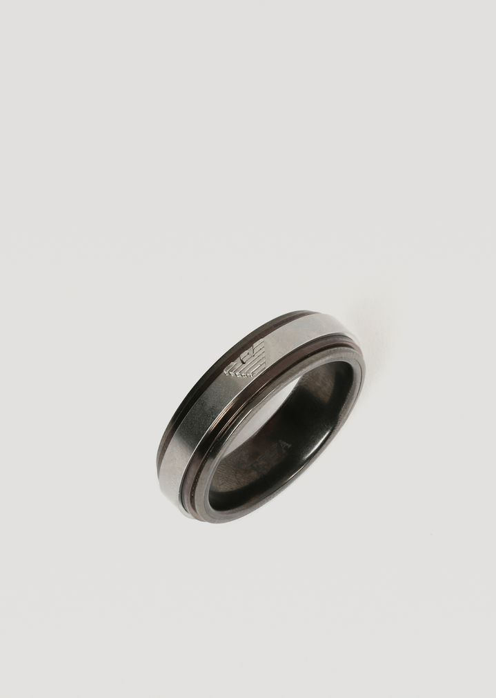 1cedc38183 Stainless steel ring with logo | Man | Emporio Armani