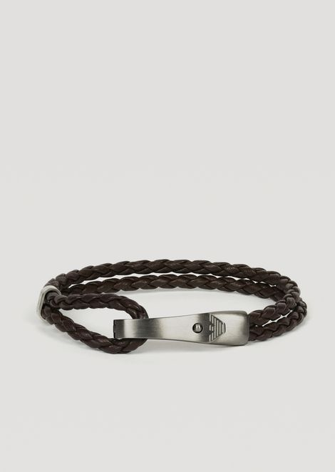 Bracelet in leather and stainless steel