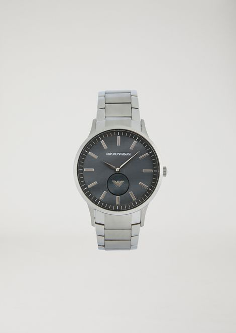 Man two-hands stainless steel watch
