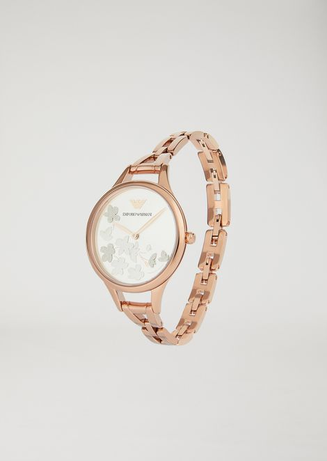 11108 stainless steel watch with floral motif
