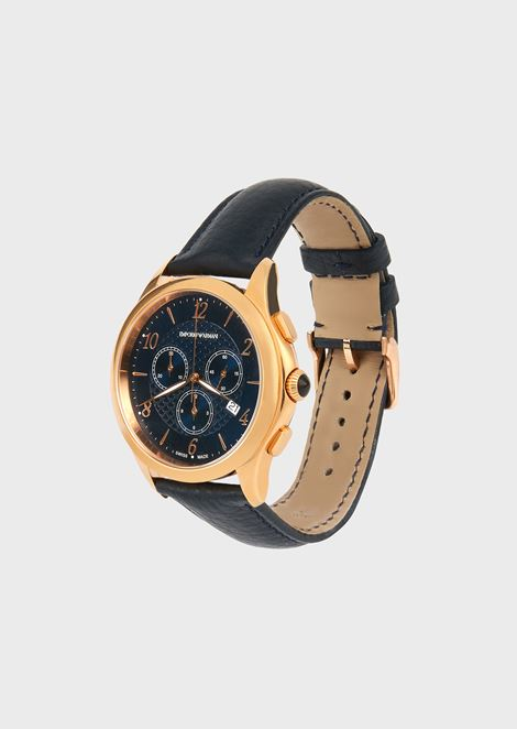 Stopwatch swiss made in rose gold plated steel and leather 8701