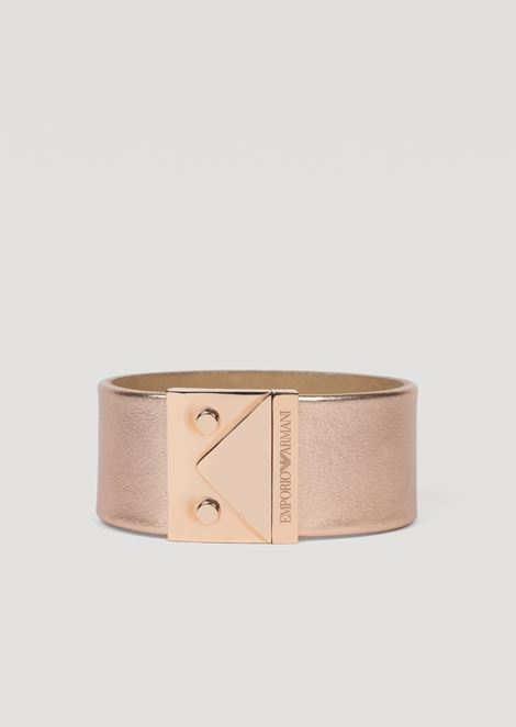 Bracelet in metallized leather and stainless steel