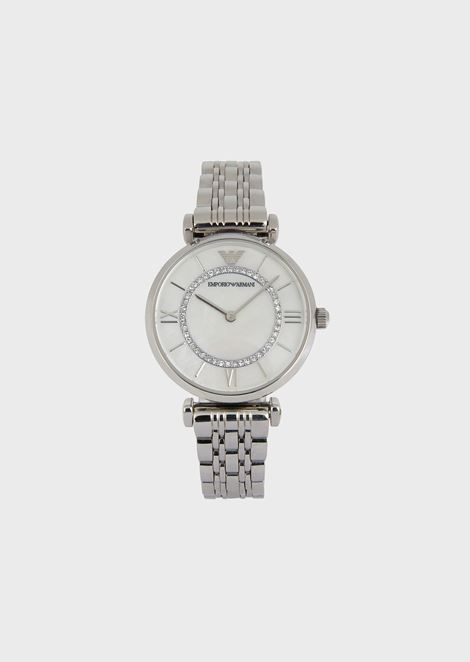 Stainless steel watch with decorative crystals and link strap
