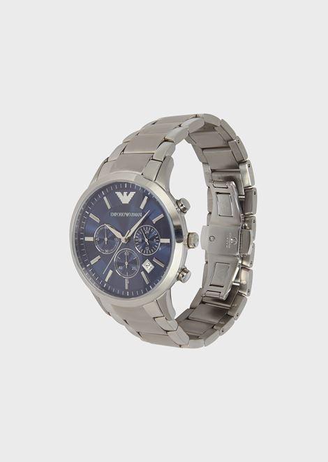 Cronografo in acciaio lucido con quadrante a contrasto
