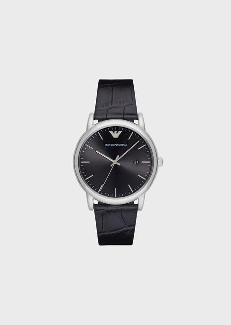 Reloj con caja de acero y correa de piel con estampado de cocodrilo 5675b0327f