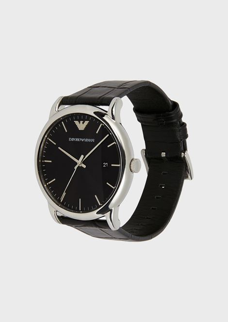 Watch with steel case and croc-print leather strap
