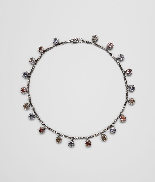 BOTTEGA VENETA MULTICOLOR CUBIC ZIRCONIA OXIDIZED SILVER NECKLACE Necklace [*** pickupInStoreShipping_info ***] fp
