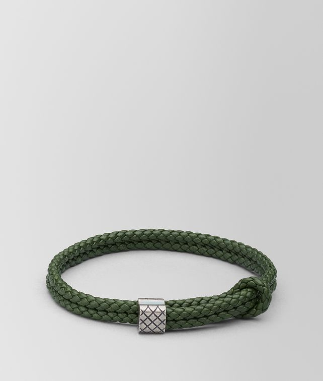 BOTTEGA VENETA FOREST LEATHER/OXIDIZED SILVER BRACELET Bracelet Man fp