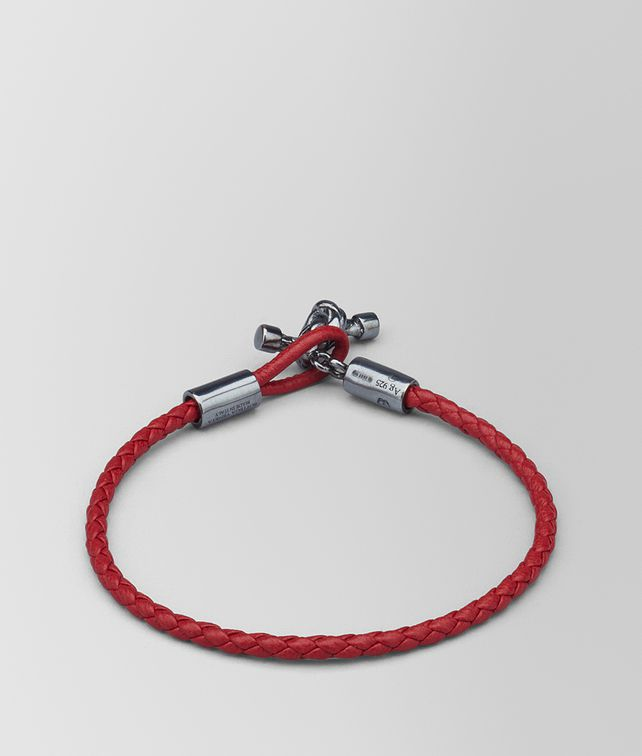 BOTTEGA VENETA CHINA RED LEATHER/OXIDIZED SILVER BRACELET Bracelet [*** pickupInStoreShipping_info ***] fp