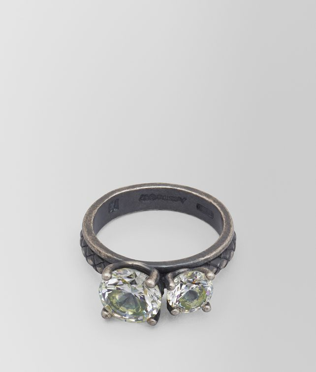 Bottega Veneta Chamomile Cubic Zirconia/Oxidized Silver Ring yXh5o