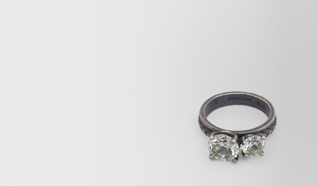 chamomile cubic zirconia/oxidized silver ring landing