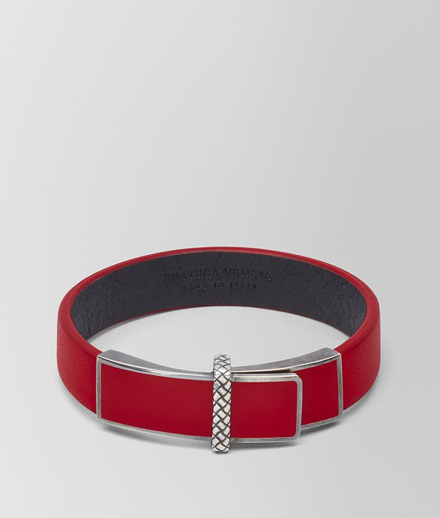 BOTTEGA VENETA BRACELET EN ARGENT OXYDÉ/CUIR CHINA RED Bracelet [*** pickupInStoreShipping_info ***] fp