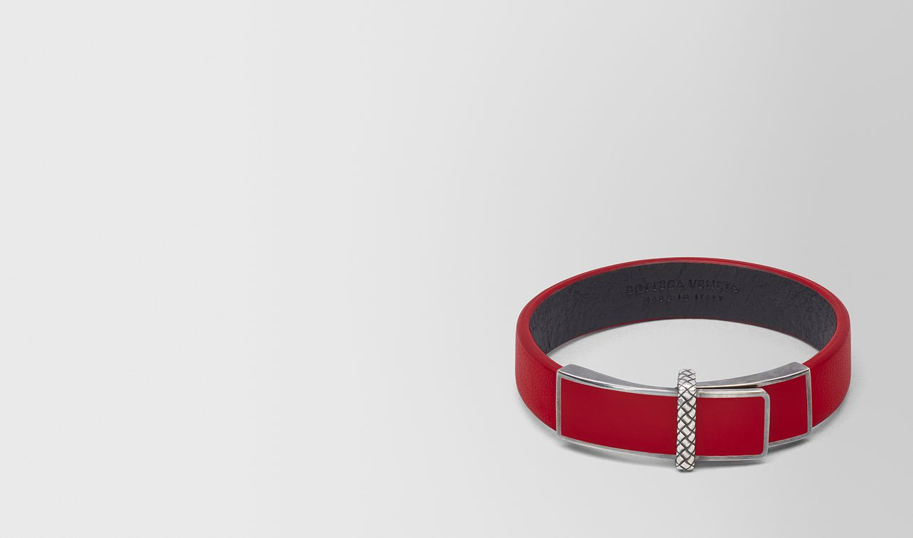 china red leather/oxidized silver bracelet landing
