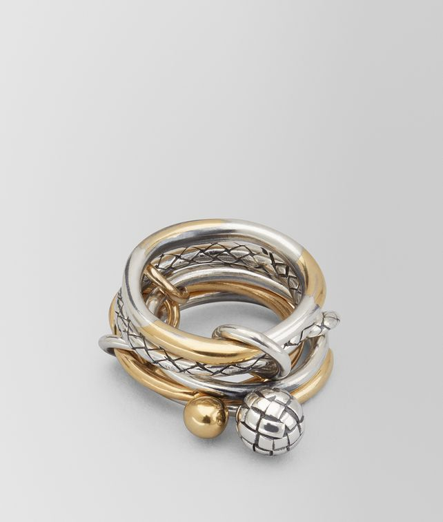 BOTTEGA VENETA ANTIQUE SILVER/YELLOW GOLD PATINA DICHOTOMY RING Ring [*** pickupInStoreShipping_info ***] fp