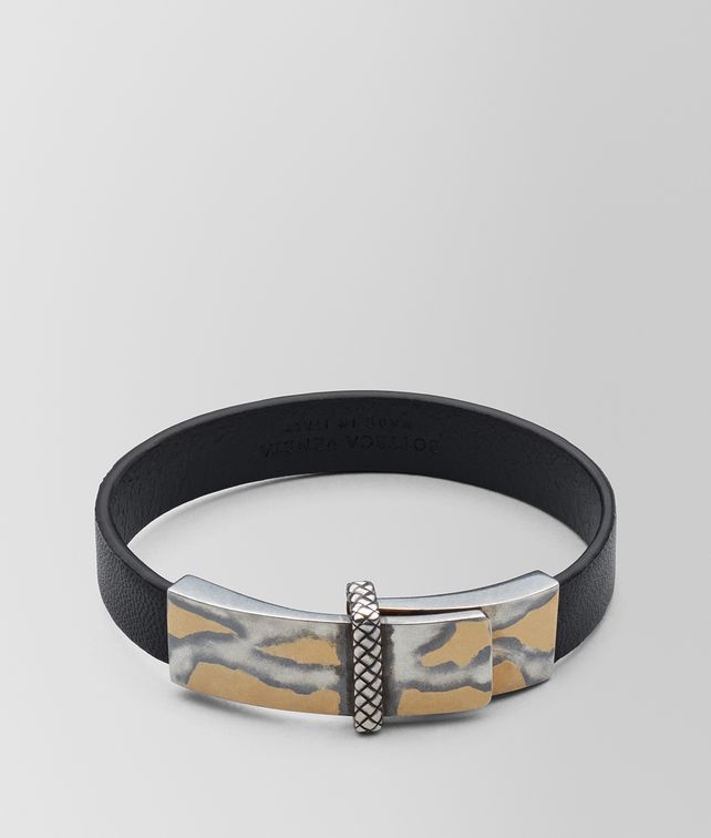 BOTTEGA VENETA NERO LEATHER/OXIDIZED SILVER BRACELET Bracelet [*** pickupInStoreShipping_info ***] fp