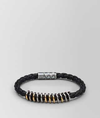 NERO LEATHER/ANTIQUE SILVER BRACELET