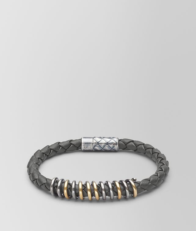 BOTTEGA VENETA LIGHT GREY LEATHER/ANTIQUE SILVER BRACELET Bracelet [*** pickupInStoreShippingNotGuaranteed_info ***] fp
