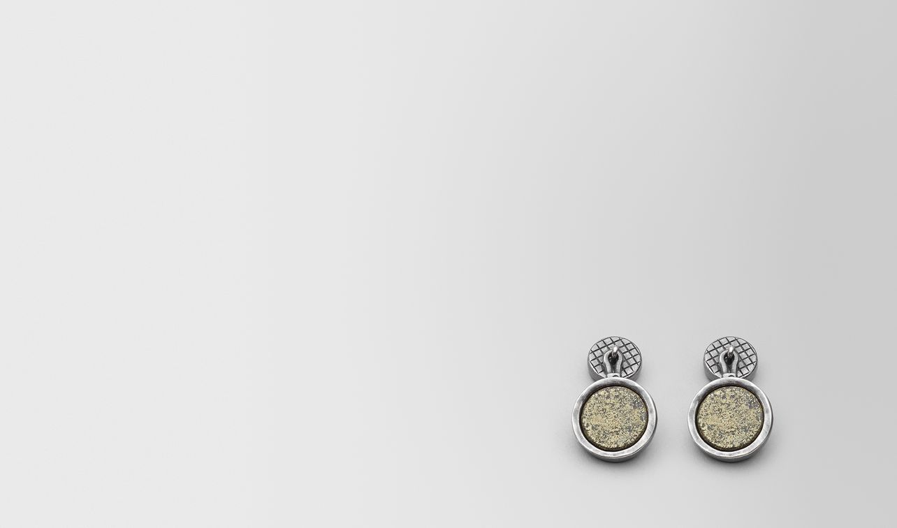 natural chalcopyrite/antique silver cufflinks landing