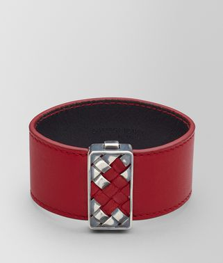 CHINA RED LEATHER/OXIDIZED SILVER BRACELET