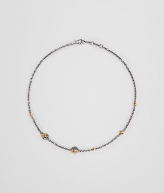 ANTIQUE SILVER/YELLOW GOLD PATINA DICHOTOMY NECKLACE