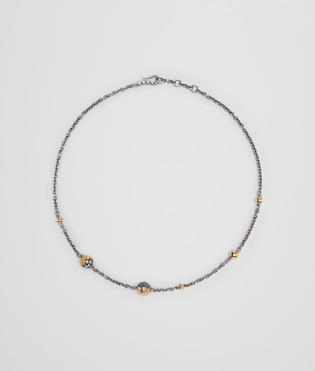 BOTTEGA VENETA ANTIQUE SILVER/YELLOW GOLD PATINA DICHOTOMY NECKLACE Necklace [*** pickupInStoreShipping_info ***] fp