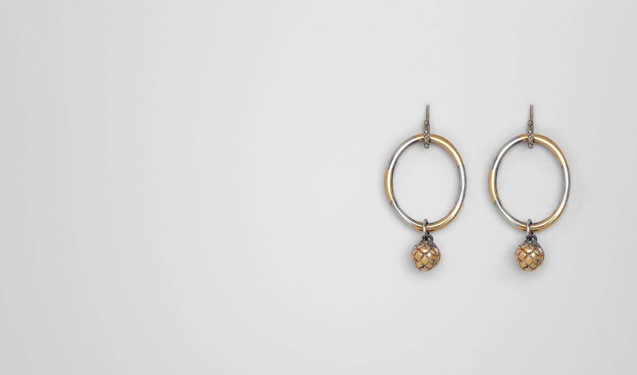 antique silver/yellow gold patina dichotomy earing landing