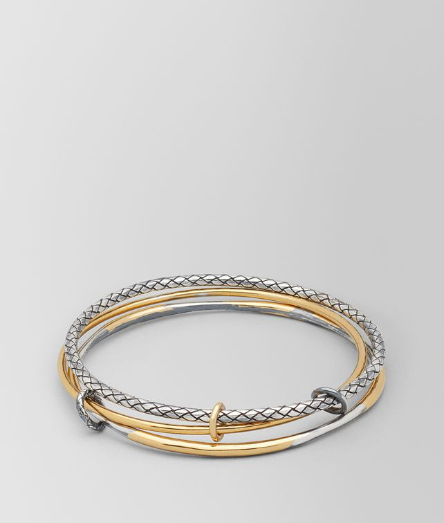 BOTTEGA VENETA ANTIQUE SILVER/YELLOW GOLD PATINA DICHOTOMY RING Bracelet Woman fp