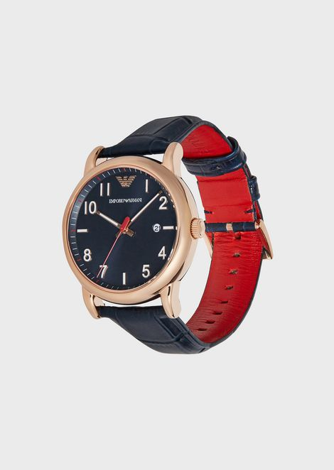 Stainless steel quartz watch with leather strap
