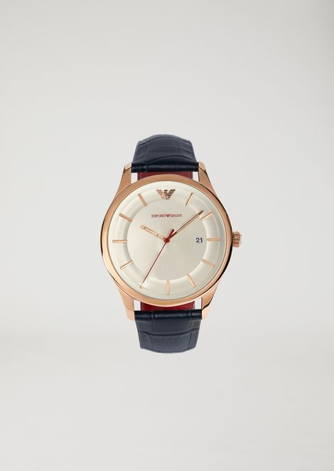 Watch with stainless-steel case and crocodile leather strap