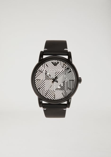 Watch with logo pattern dial